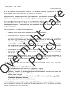 Overnight Care Policy