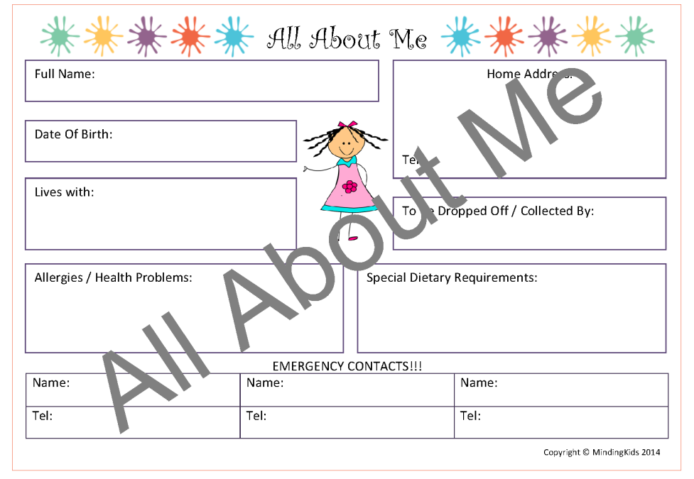 Create professional contact diaries to record each child's routines ...