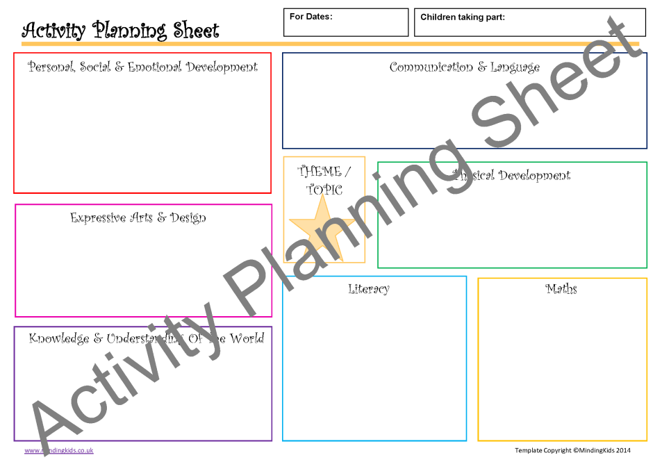 Activity planning pack mindingkids for Activity programme template