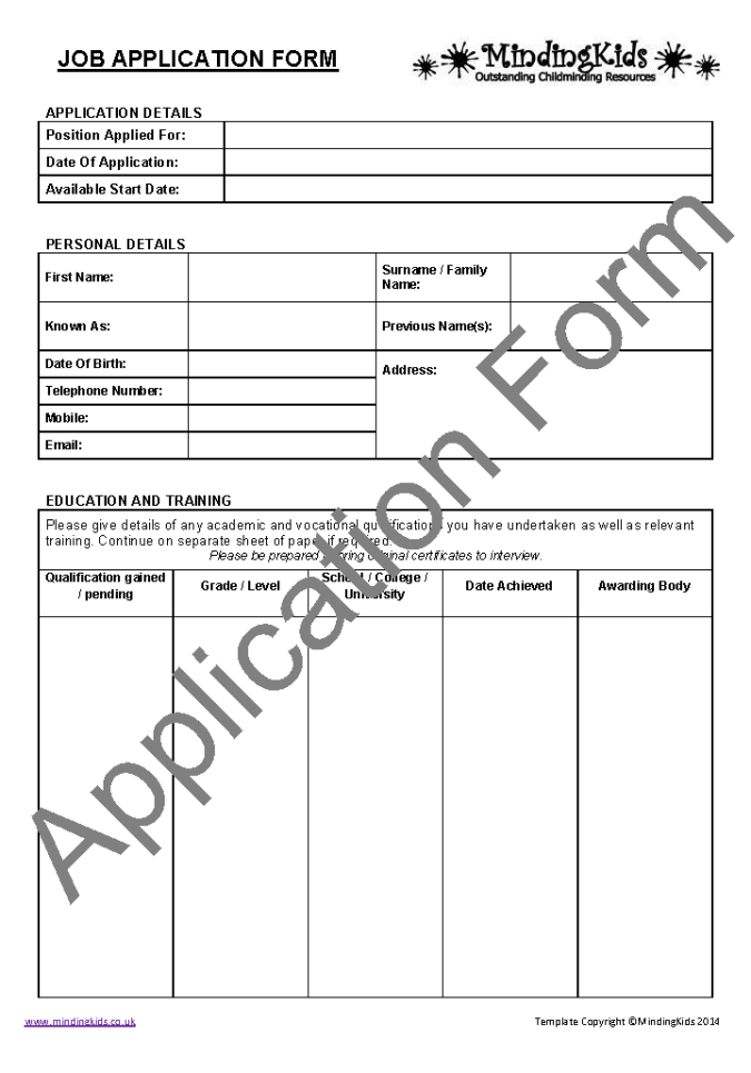 Admission application form template