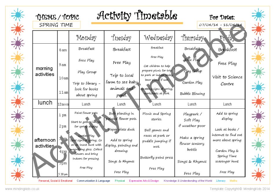 Activity planning pack mindingkids for Activity timetable template