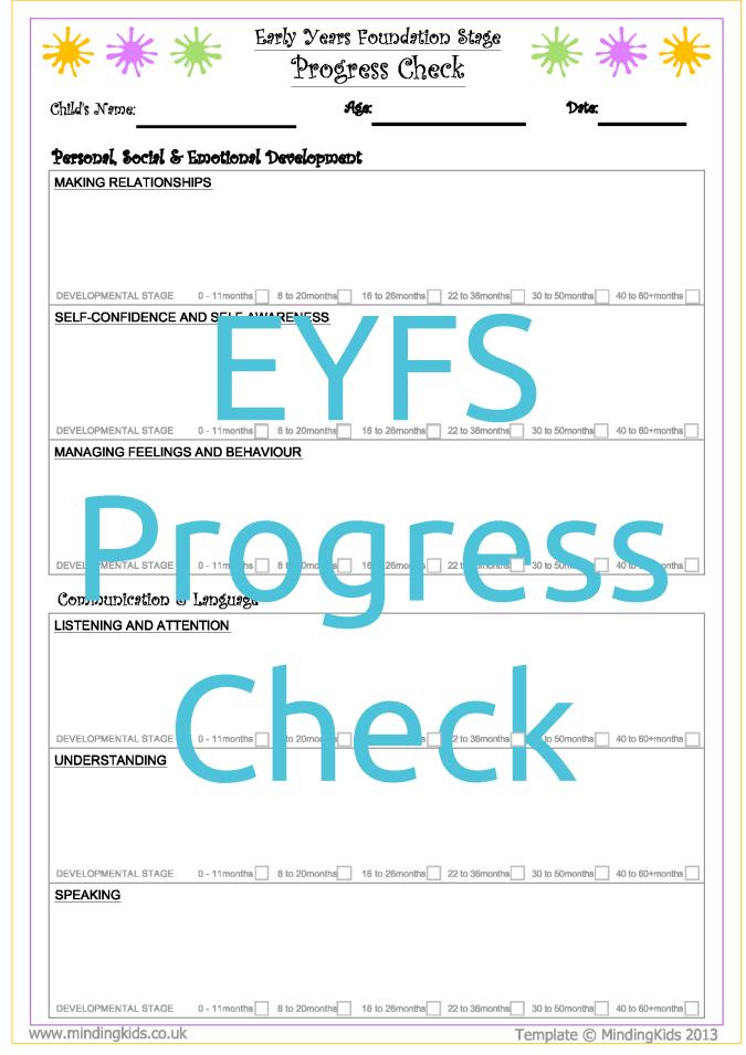 Eyfs 2 Year Progress Check Mindingkids