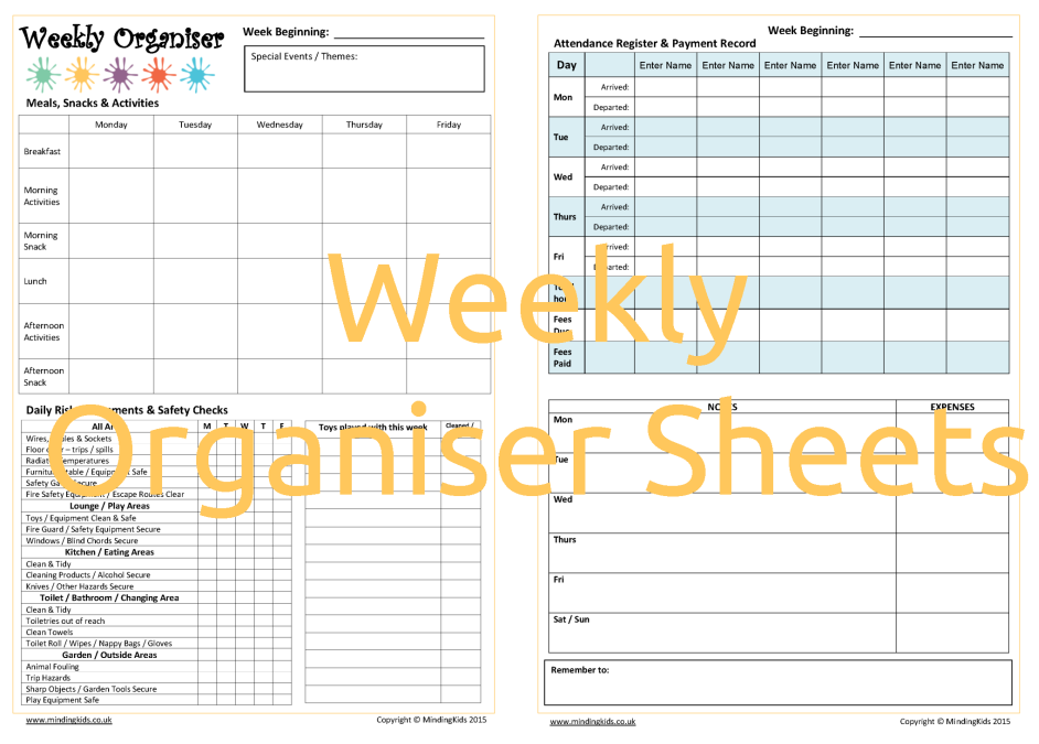 Weekly Organiser Sheets