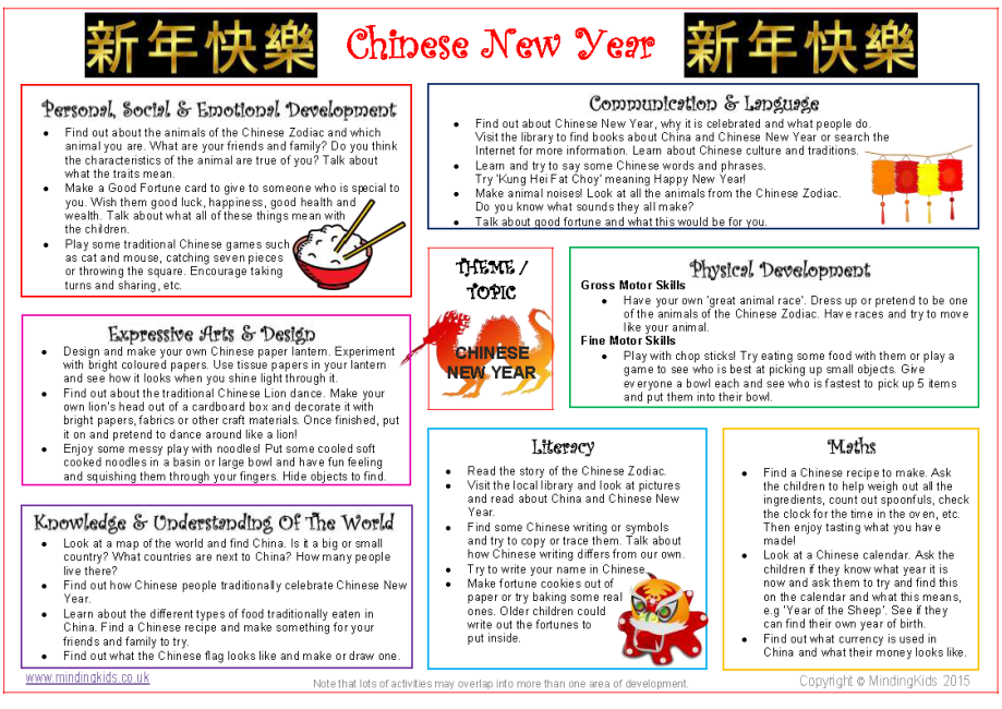 chinese new year activity ideas sheet - Chinese New Year Activities