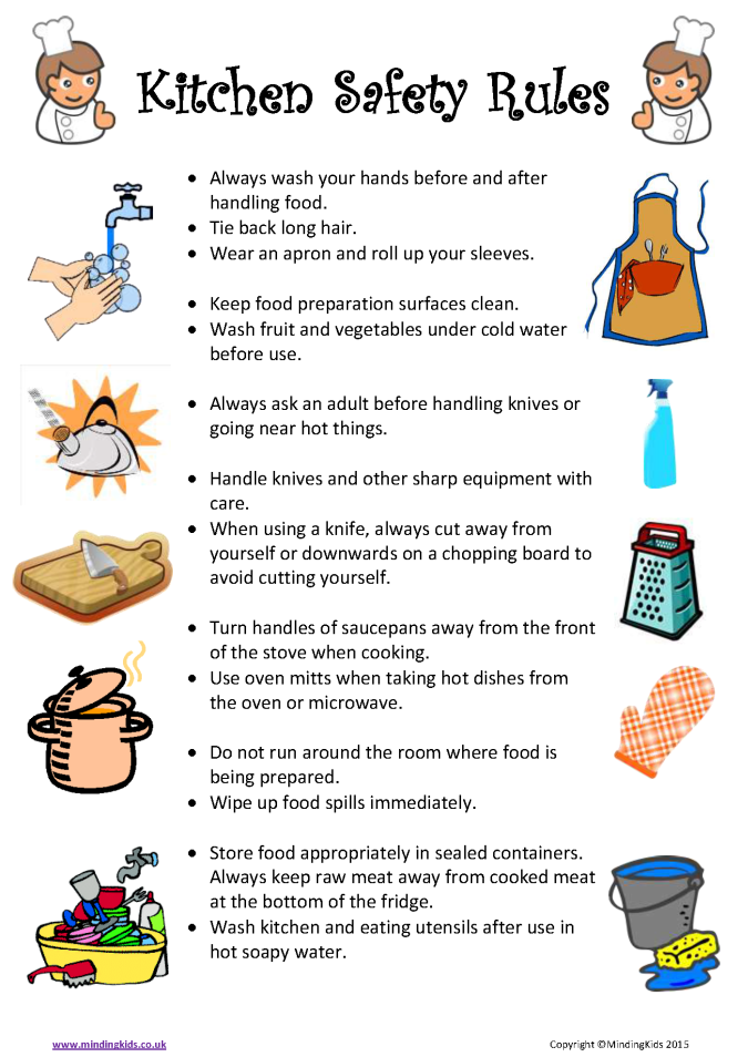 Restaurant Kitchen Prep Sheets cooking-safety-rules 675×954 pixels | seven week lesson plan