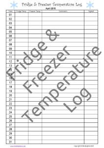Fridge & Freezer Temperature Log