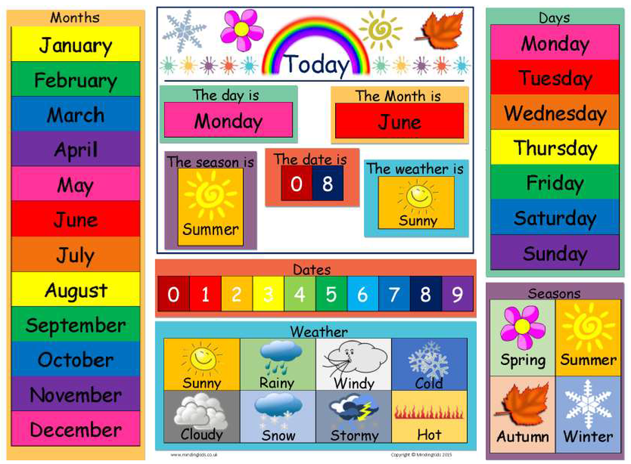 Today Is Dates Weather Seasons Chart on Worksheets For Preschool My Family