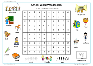 School Word Wordsearch
