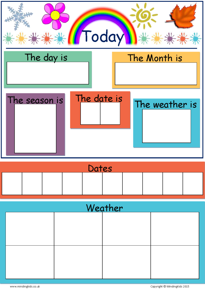 Today Is Dates Weather Amp Seasons Chart Mindingkids