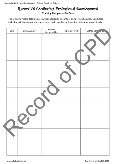 cpd certificate template - cpd record planning pack mindingkids