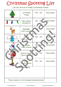 Christmas Spotting List