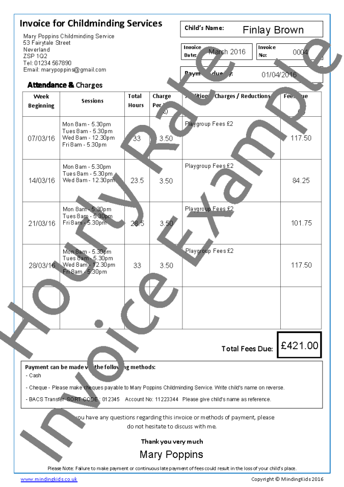 invoices & receipts - mindingkids, Invoice examples