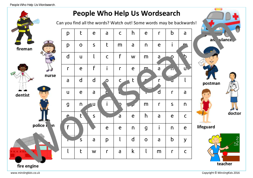 Worksheets For People : People who help us activity pack mindingkids
