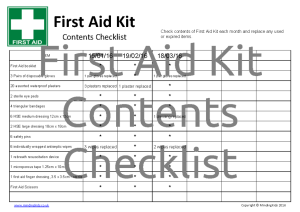 First Aid Contents Checklist