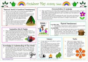 Outdoor Play Activity Ideas Sheet