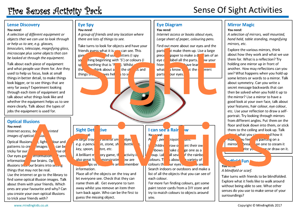 Sense Of Sight Activities Mindingkids