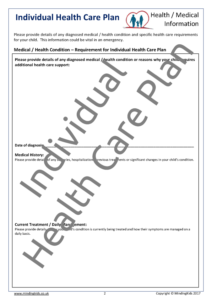 Health care plans mindingkids for Individual health care plan template