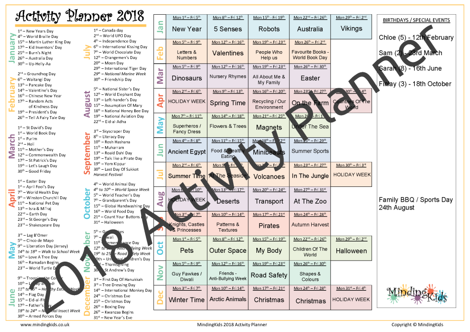 2018 activity planner mindingkids