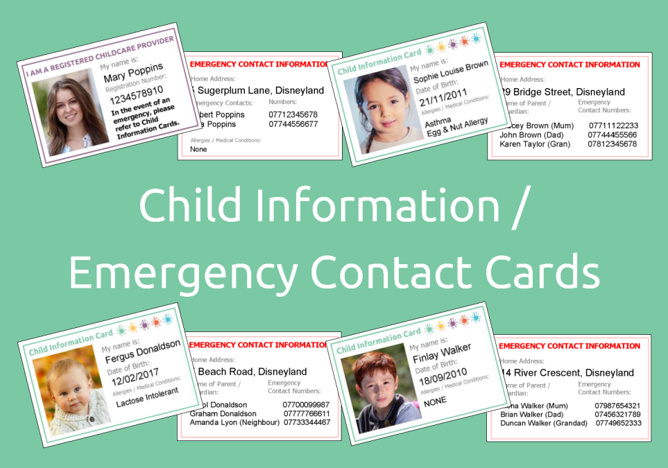 child information    emergency contact cards