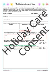 Holiday Care Consent Form page1