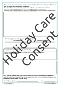Holiday Care Consent Form page2