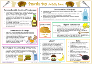 Pancake Day Activity Ideas Sheet