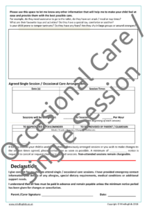 Occasional Care / Single Session Consent Form