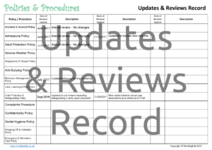 Updates & Reviews Record