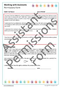 Assistant Permissions Form