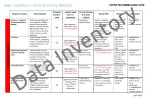 Data Inventory - Children & Families