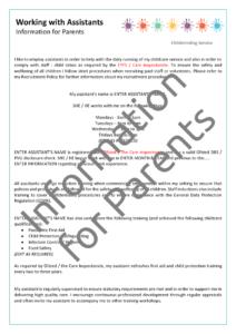 Assistant Information for Parents