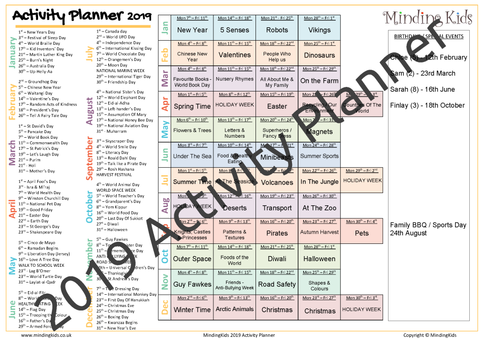 2019 activity planner mindingkids