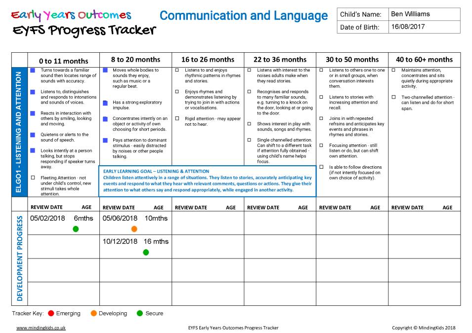 Kids Learning Tablet >> Early Years Outcomes EYFS Progress Tracker - MindingKids