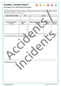 Record of Accidents & Incidents