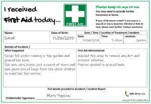 First Aid Note