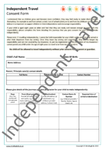 Independent Travel Consent Form