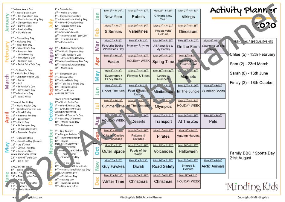 Activity Planner 2020