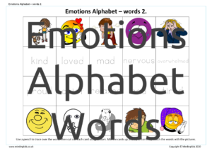 Emotions Alphabet Words