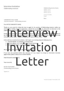 Interview Invitation Letter