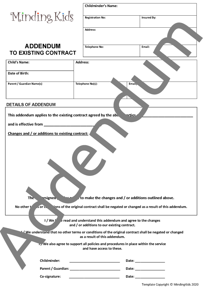 Addendum to Existing Contract Form