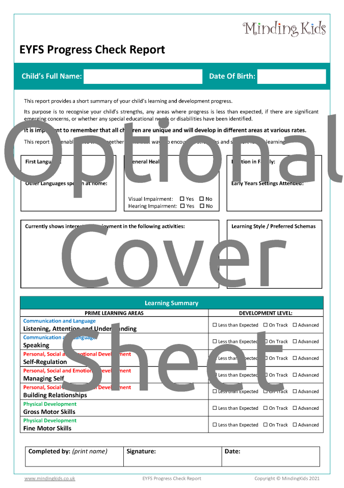 Progress Check Cover Sheet