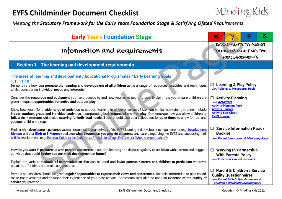 EYFS Document Check List_Sample Page1