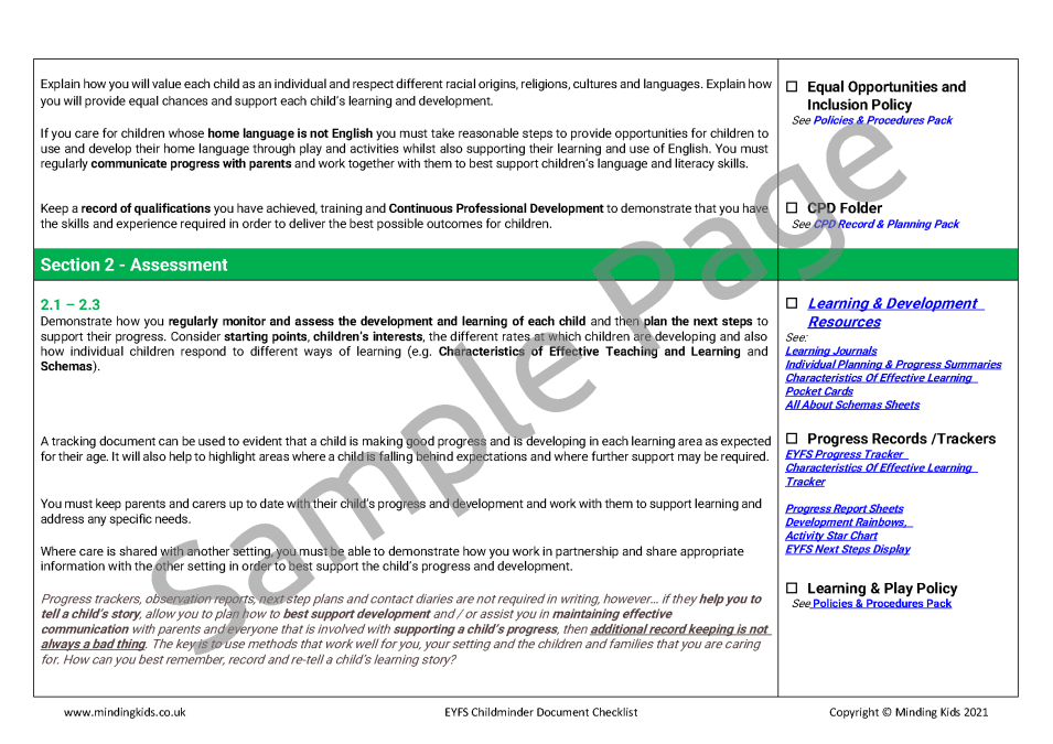 EYFS Document Check List_Sample Page2