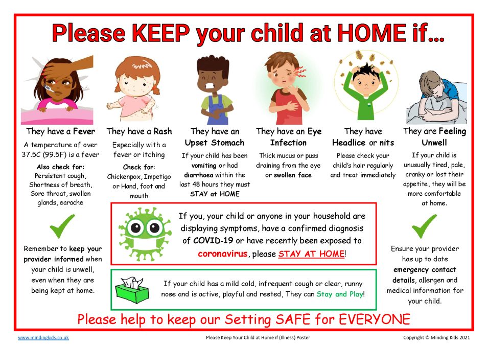 Please keep your child at home poster