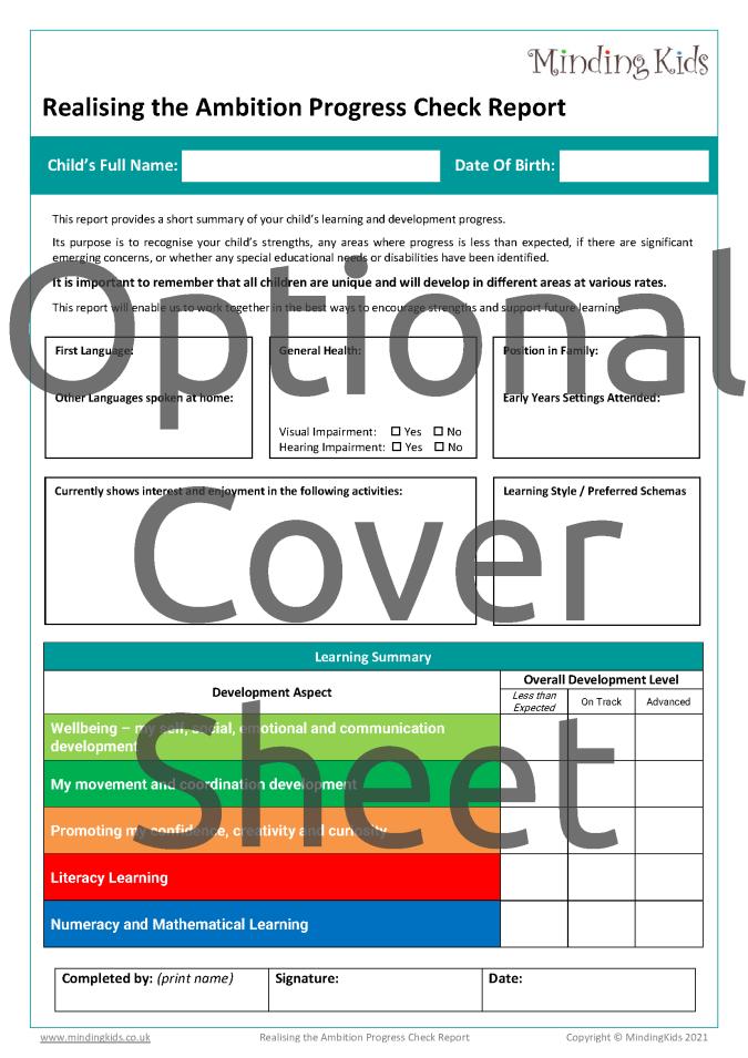 RTA Progress Check Cover Sheet