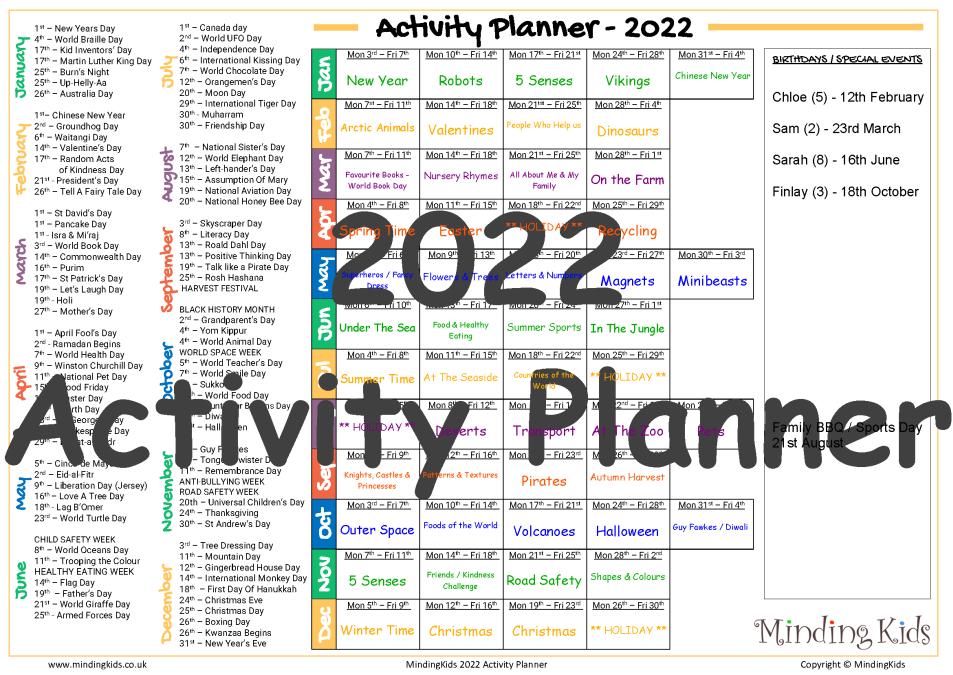 2022 Activity Planner